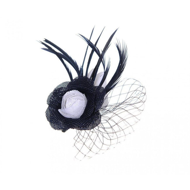 Black-White - Front - Unbranded Womens-Ladies Linen Look Fascinator Clip
