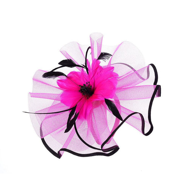 Fuchsia-Black - Front - Intrigue Womens-Ladies Large Feather Flower Fascinator