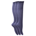 Navy - Front - Childrens Girls Plain Knee High School Socks (Pack Of 3)