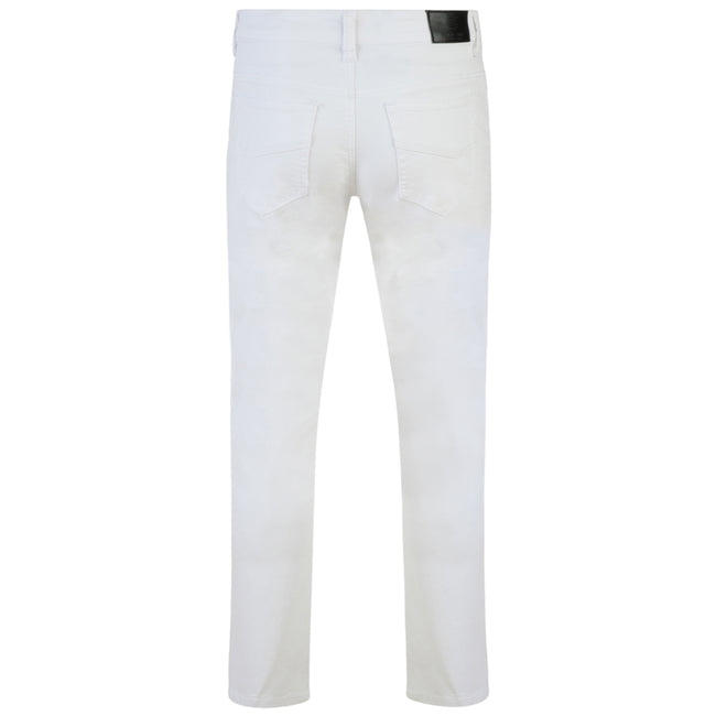 White - Back - Kam Jeanswear Mens Alba Slim Fit Chino Jeans
