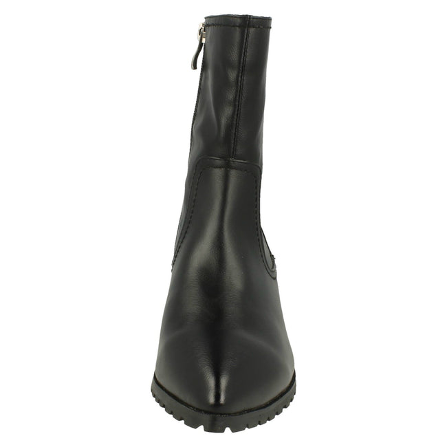 Black - Front - Spot On Womens-Ladies Low Heel Short Boots