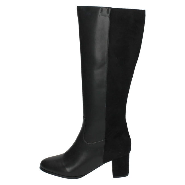 Black - Lifestyle - Spot On Womens-Ladies Heeled Contrast Calf Boots