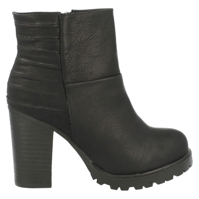 Black - Side - Spot On Womens-Ladies Heeled Panelled Ankle Boots