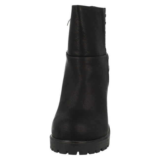 Black - Front - Spot On Womens-Ladies Heeled Panelled Ankle Boots