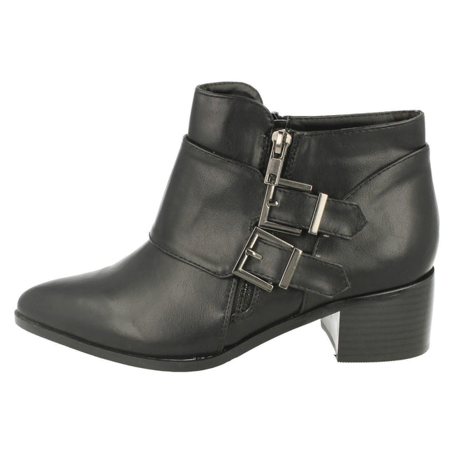 Black - Pack Shot - Spot On Womens-Ladies Buckle Detail Ankle Boots