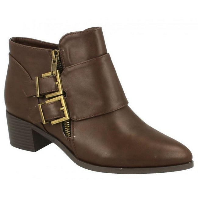 Brown - Lifestyle - Spot On Womens-Ladies Buckle Detail Ankle Boots