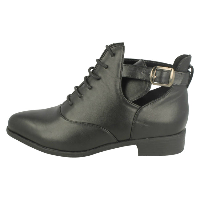 Black - Lifestyle - Spot On Womens-Ladies Low Heel Lace Up Ankle Boots