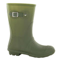 Green - Lifestyle - Spot On Womens-Ladies Low Calf Buckle Strap Wellies