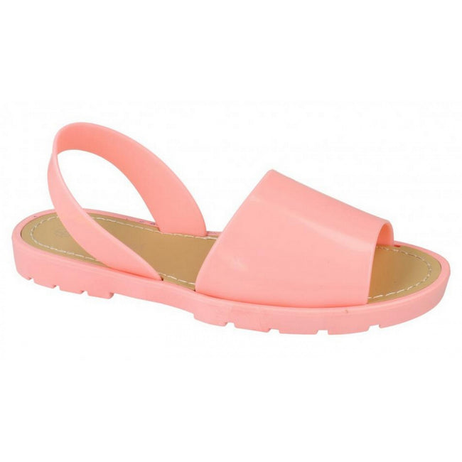 Pink - Front - Savannah Womens-Ladies Sling Back Flat Open Toe Mule Sandals