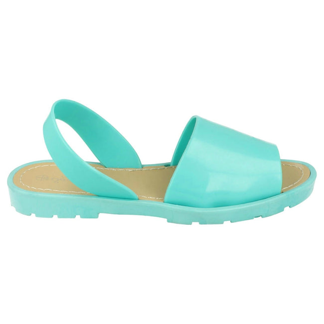 Mint Green - Back - Savannah Womens-Ladies Sling Back Flat Open Toe Mule Sandals
