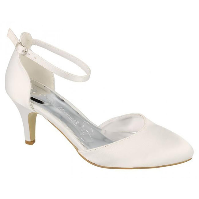 White Satin - Front - Anne Michelle Womens-Ladies Bridal Wedding Court Shoes