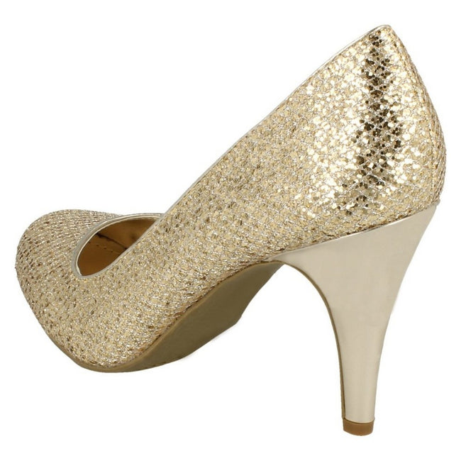 Gold Glitter - Close up - Anne Michelle Womens-Ladies Metallic Snake Skin Pattern High Heels