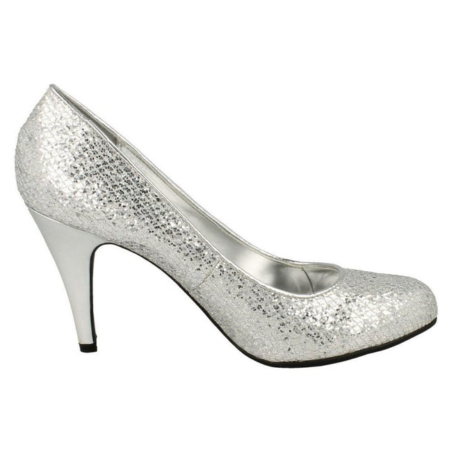 Silver Glitter - Back - Anne Michelle Womens-Ladies Metallic Snake Skin Pattern High Heels