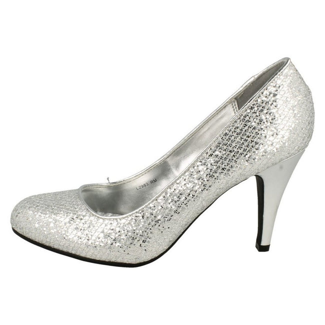 Silver Glitter - Side - Anne Michelle Womens-Ladies Metallic Snake Skin Pattern High Heels