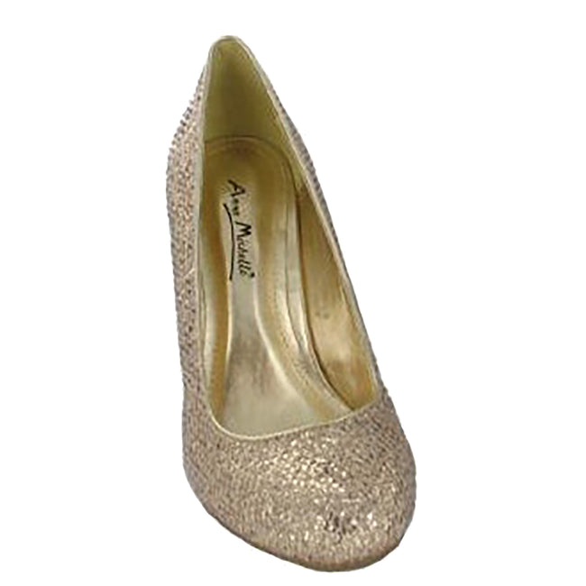 Gold Glitter - Front - Anne Michelle Womens-Ladies Metallic Snake Skin Pattern High Heels