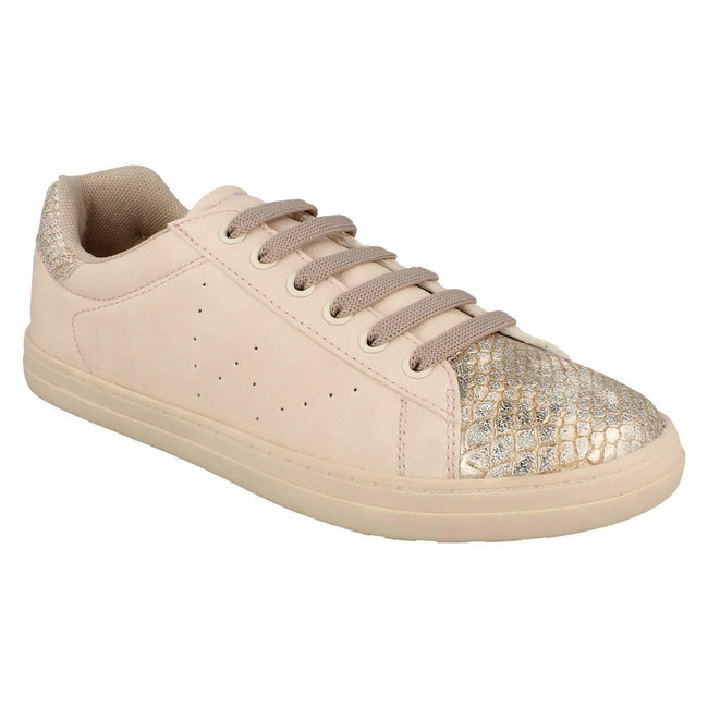 Nude - Side - Spot On Womens-Ladies Lace Up Snake Toecap Sneakers