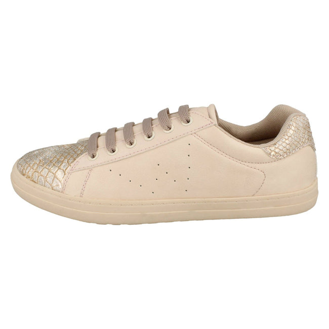 Nude - Lifestyle - Spot On Womens-Ladies Lace Up Snake Toecap Sneakers