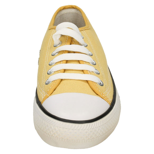 Yellow - Front - Spot On Womens-Ladies Low Cut Canvas Lace Up Shoes