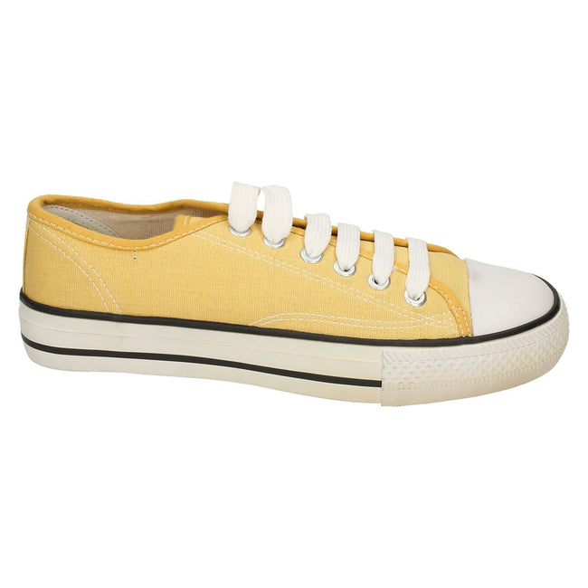 Yellow - Side - Spot On Womens-Ladies Low Cut Canvas Lace Up Shoes