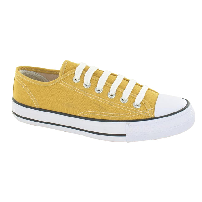 Yellow - Lifestyle - Spot On Womens-Ladies Low Cut Canvas Lace Up Shoes