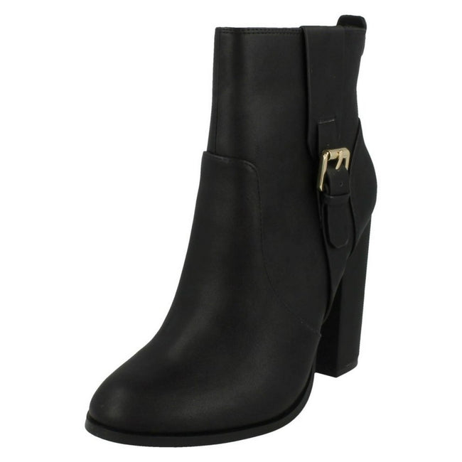 Black - Lifestyle - Anne Michelle Womens-Ladies Block Heel Ankle Boots