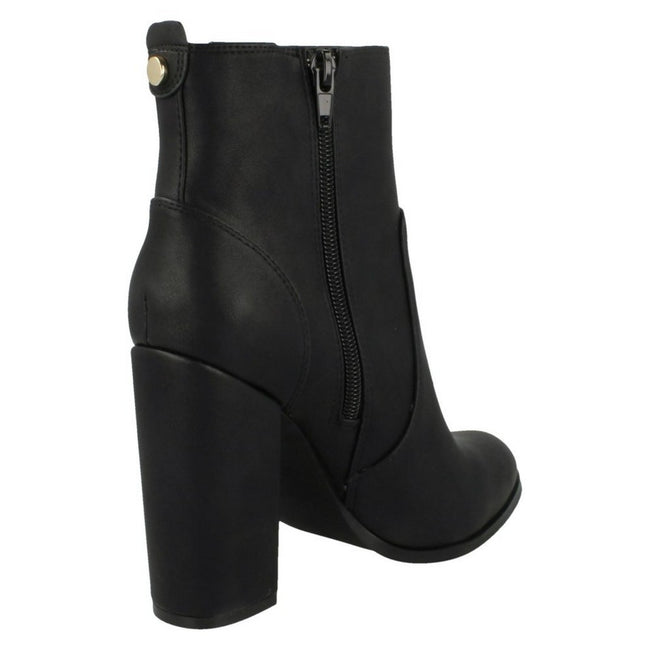 Black - Pack Shot - Anne Michelle Womens-Ladies Block Heel Ankle Boots