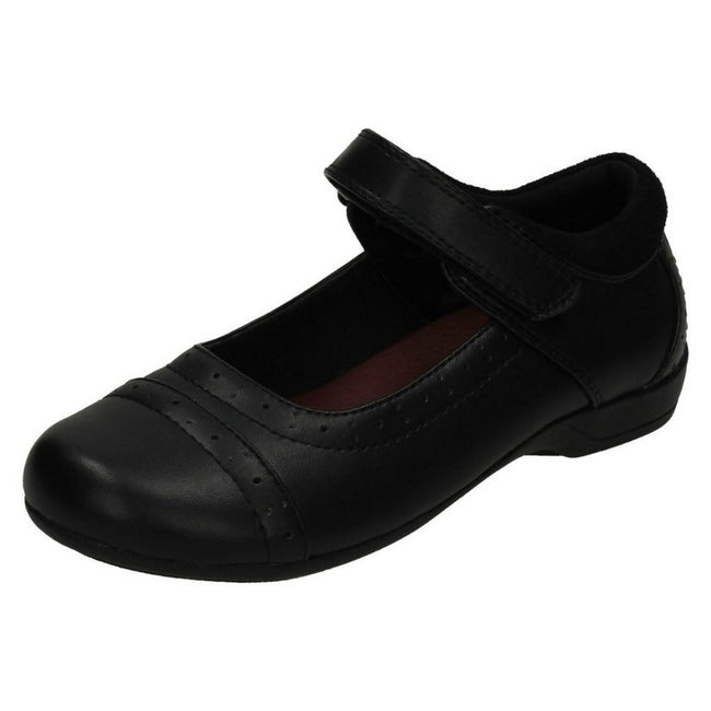 Black - Close up - Cool For School Childrens Girls Brogue School Shoes