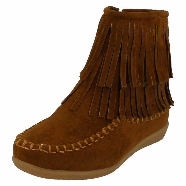 Tan Suedette - Lifestyle - Spot On Childrens Girls Flat Fringe Ankle Boots