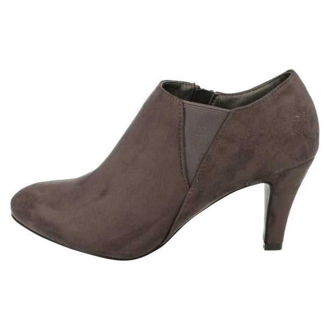 Gray - Side - Anne Michelle Womens-Ladies Low Cut Ankle Boots