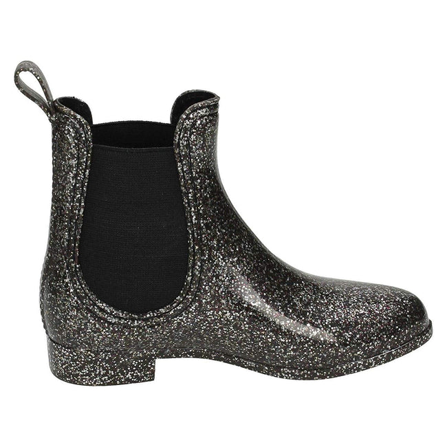 Black Glitter - Back - Spot On Girls Ankle Wellington Boots