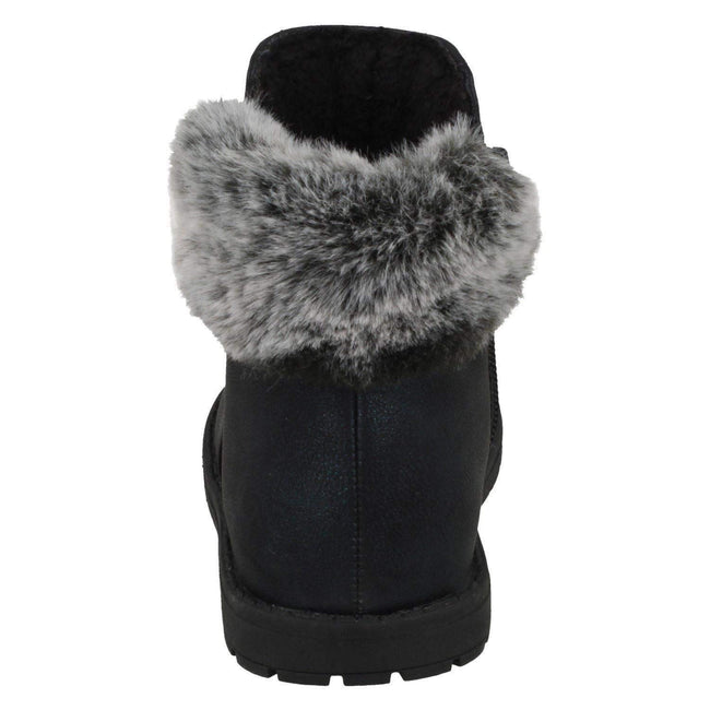 Black - Pack Shot - Spot On Girls Fur Collar Ankle Boots
