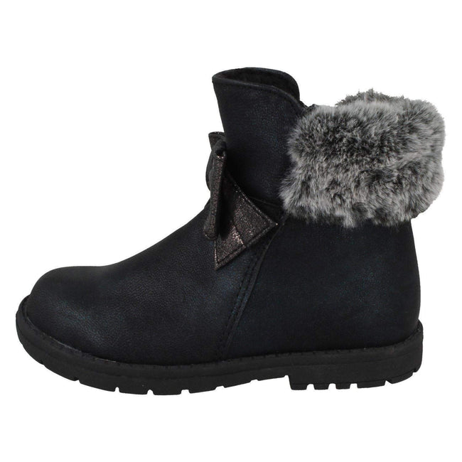 Black - Close up - Spot On Girls Fur Collar Ankle Boots
