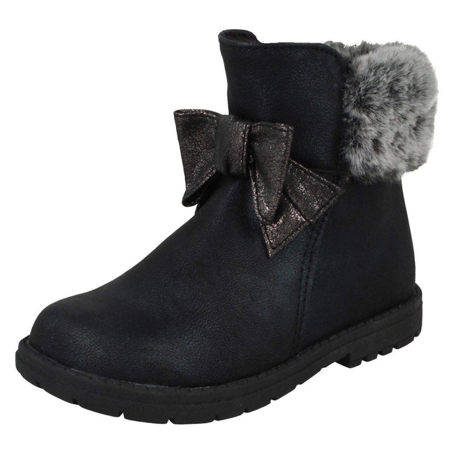 Black - Front - Spot On Girls Fur Collar Ankle Boots