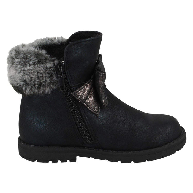 Black - Back - Spot On Girls Fur Collar Ankle Boots