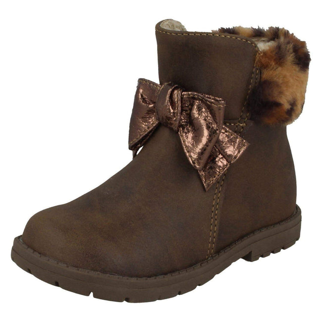 Brown - Front - Spot On Girls Fur Collar Ankle Boots