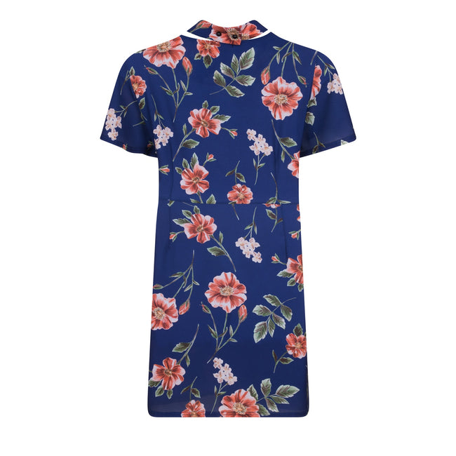 Navy - Back - Girls On Film Curvy Womens-Ladies Navy Rose Print Wrap Dress