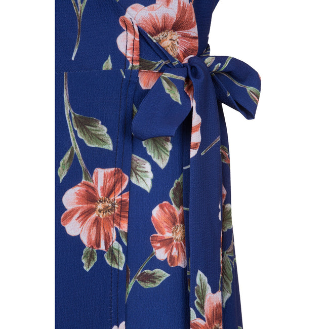 Navy - Side - Girls On Film Curvy Womens-Ladies Navy Rose Print Wrap Dress