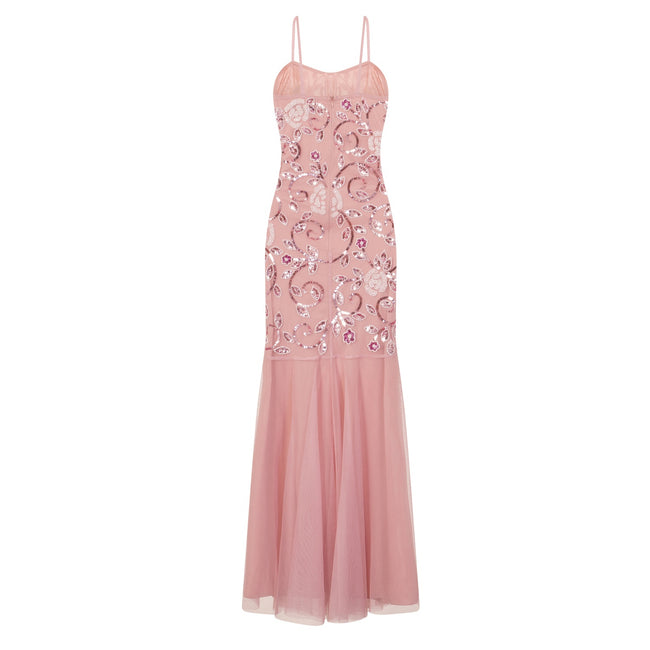 Pink - Back - Little Mistress Womens-Ladies Fishtail Strappy Maxi Dress