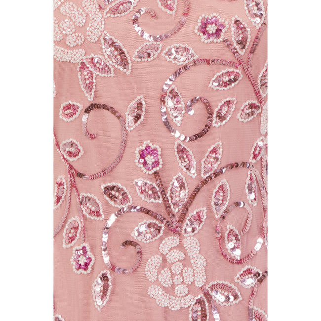Pink - Side - Little Mistress Womens-Ladies Fishtail Strappy Maxi Dress