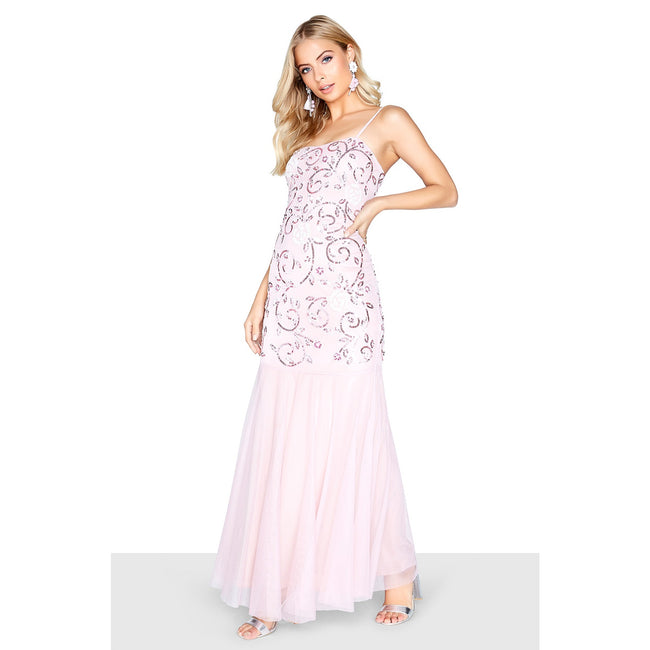 Pink - Pack Shot - Little Mistress Womens-Ladies Fishtail Strappy Maxi Dress