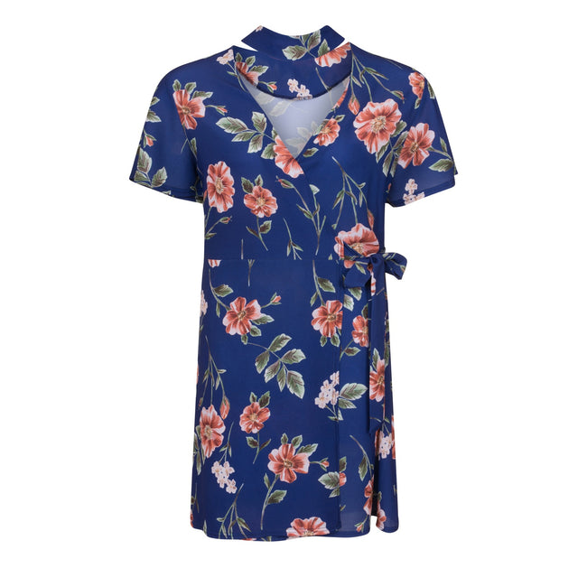 Navy - Front - Girls On Film Curvy Womens-Ladies Navy Rose Print Wrap Dress
