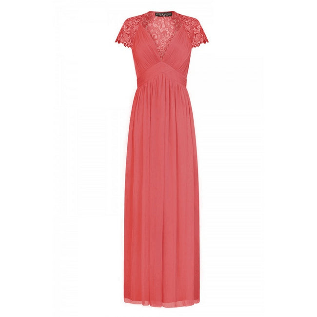 Coral - Front - Little Mistress Womens-Ladies Embellished Cap Sleeve Maxi Dress