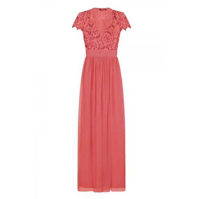 Coral - Back - Little Mistress Womens-Ladies Embellished Cap Sleeve Maxi Dress