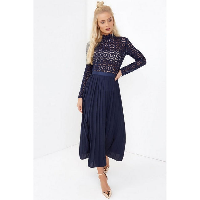 Navy - Front - Little Mistress Womens-Ladies 2 In 1 Pleated Maxi Dress