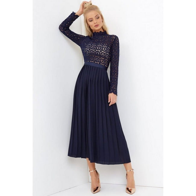 Navy - Side - Little Mistress Womens-Ladies 2 In 1 Pleated Maxi Dress
