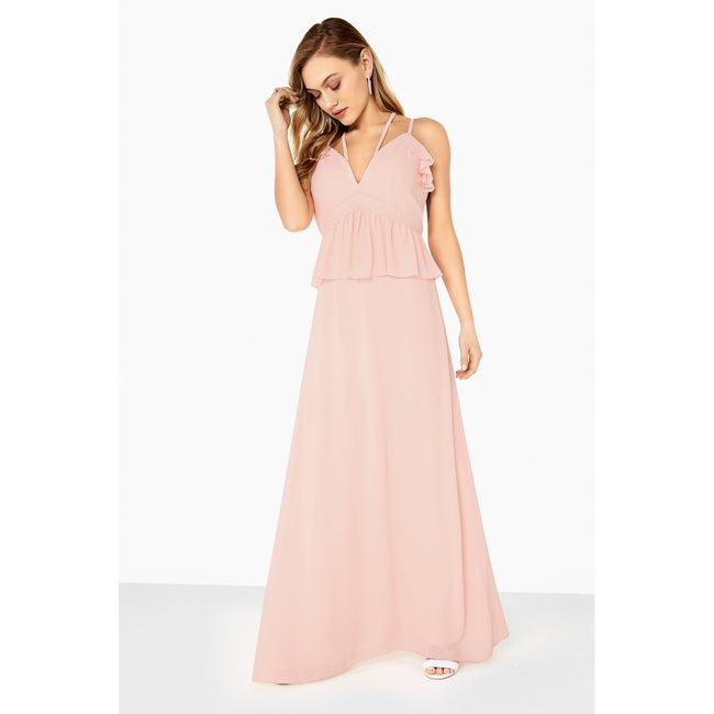 Nude - Side - Girls On Film Womens-Ladies Frill Front Strappy Maxi Dress