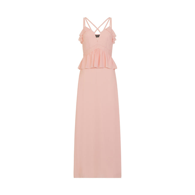 Nude - Close up - Girls On Film Womens-Ladies Frill Front Strappy Maxi Dress