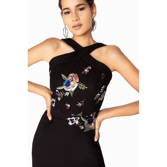 Black - Lifestyle - Little Mistress Womens-Ladies Hallie Sequin Embroidered Jumpsuit
