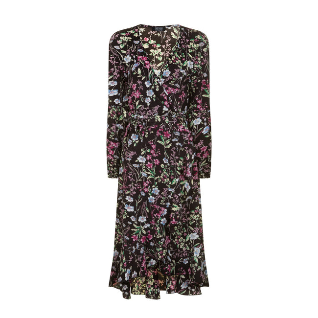 Print - Front - Girls On Film Womens-Ladies Floral Wrap Midi Dress