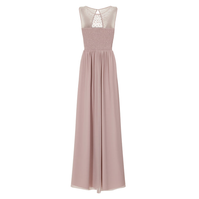 Mink - Back - Little Mistress Womens-Ladies Mink Pearl Yoke Maxi Dress